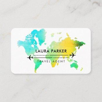 travel agent world map vacation water teal beach b business card