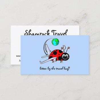 travel bug - lady bug airplane - travel agency business card