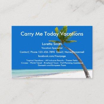 travel vacation specialist business card