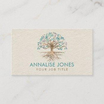 tree of life - yggdrasil - gold and painted leaves business card