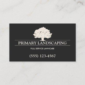 tree service and lawn care landscaper black business card