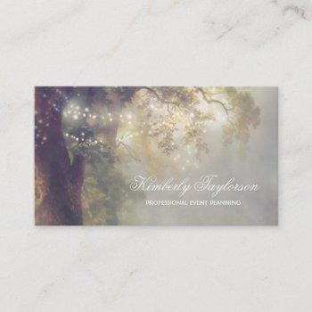 tree string lights | event planner | entertaiment business card