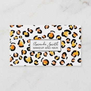 trendy big leopard brush pattern orange watercolor business card