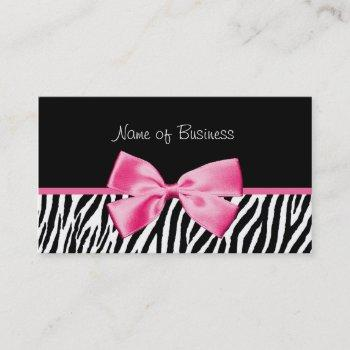 trendy black and white zebra print pink ribbon business card