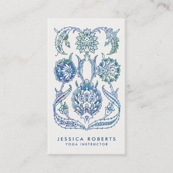 trendy blue green watercolor floral design business card
