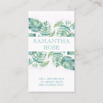 trendy botanical monstera palm leaves coastal business card
