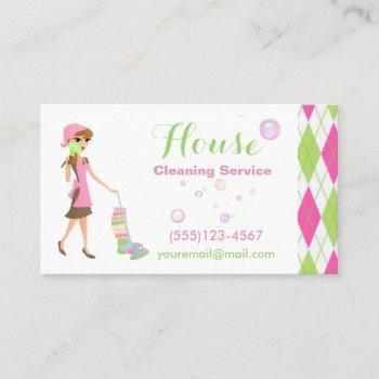 trendy cartoon maid house cleaning services business card
