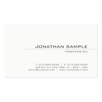 Small Trendy Creative Minimalist Plain Modern Design Business Card Front View