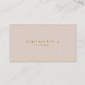 trendy elegant gold text modern minimal plain top business card