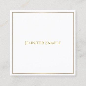 trendy elegant gold text white template modern square business card