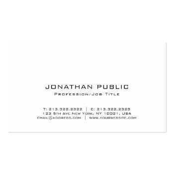 Small Trendy Elegant Monogram Minimalist Plain Luxury Business Card Back View