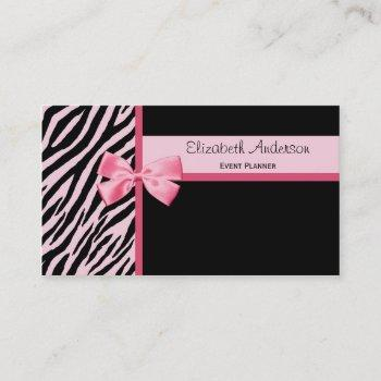 trendy event planner pink and black zebra with bow business card