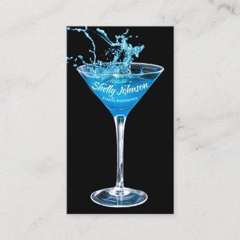 trendy events bartender exotic blue splash business card