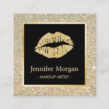 trendy gold lips glitter sparkles makeup artist square business card
