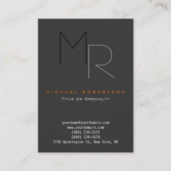 trendy gray black monogram plain business card