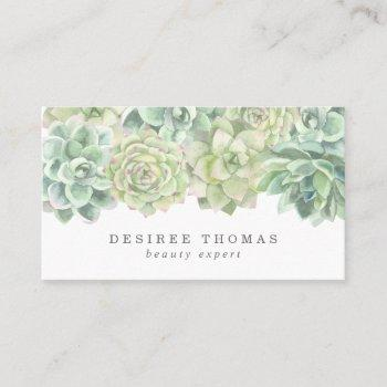 trendy green watercolor succulents business card