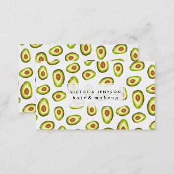trendy hand painted avocados watercolor pattern business card