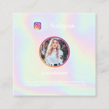 trendy holographic pastel rainbow instagram photo calling card