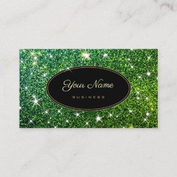 trendy luminous green glitter glam stars elegant business card