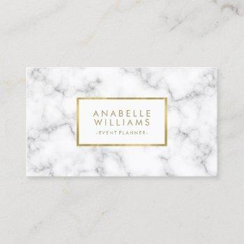 trendy marble and faux gold texture business card