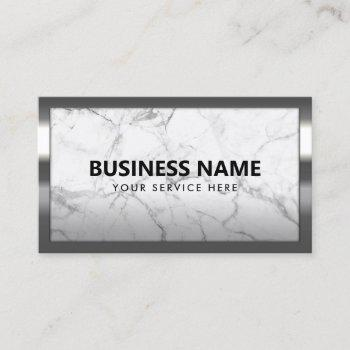 trendy marble modern metal frame professional business card
