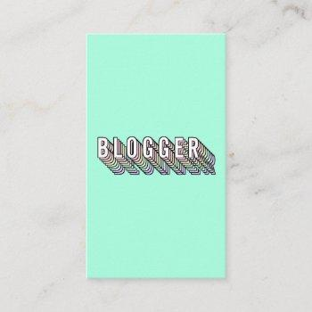 trendy mint green 3d typography blogger minimal business card