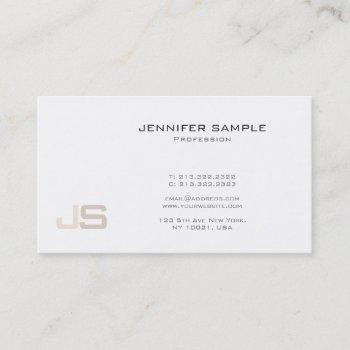 trendy modern elegant monogram glamour plain business card