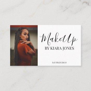 trendy modern makeup artist script photo business card