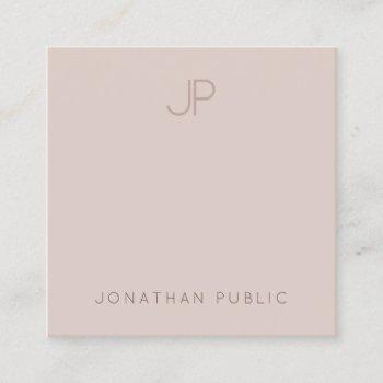 trendy modern monogram elegant clean template luxe square business card