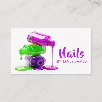 trendy modern professional nail artist salon business card