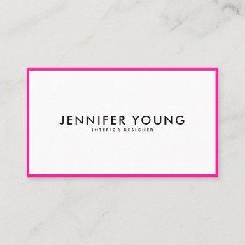 trendy neon pink minimalist modern professional business card