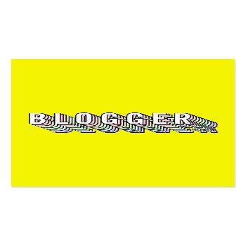 Small Trendy Neon Yellow 3d Typography Blogger Minimal Business Card Front View
