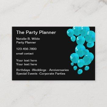 trendy party planner business card design
