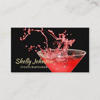 trendy red splash bartender and events caterer business card