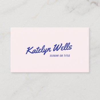 trendy retro handwritten typography pink business card