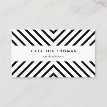 trendy retro mod black and white pattern business card