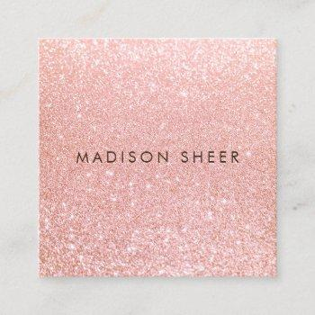 trendy rose gold glitter beauty stylist square business card