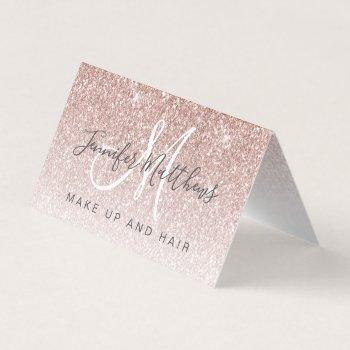 trendy rose gold glitter makeup artist hair salon business card