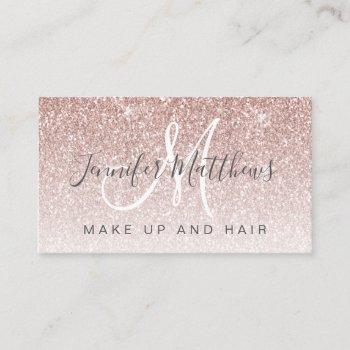 trendy rose gold glitter makeup artist hair salon business card