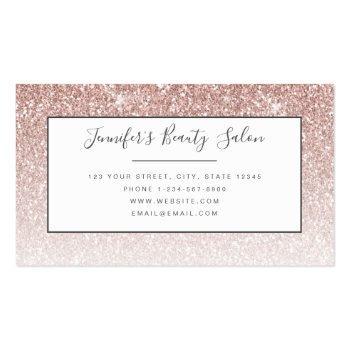 Small Trendy Rose Gold Glitter Makeup Artist Hair Salon Business Card Back View