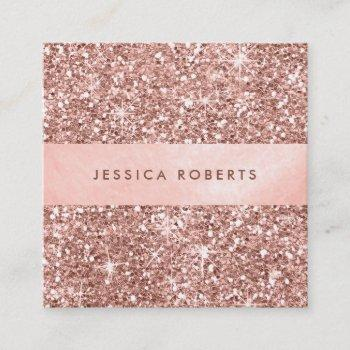 trendy rose gold glitter pattern pretty square business card