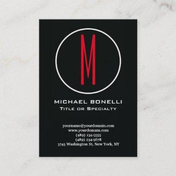 trendy stylish modern stamp red monogram business card