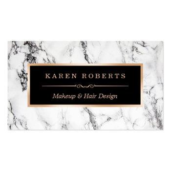 Small Trendy White Marble Makeup Artist Hair Salon Business Card Front View