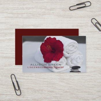 tropical aromatherapy spa salon massage therapist business card