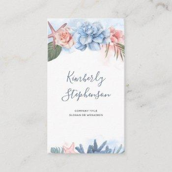 tropical beach flowers and starfish coral palm business card