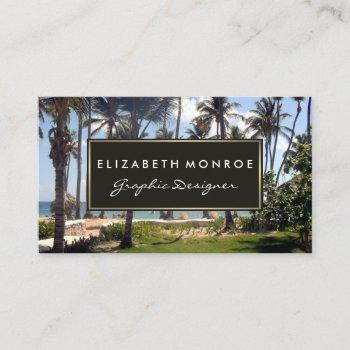 tropical beach, travel & tourism business card