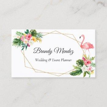 tropical leaves floral flamingo geometric frame business card