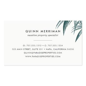 Small Tropical Palm Frond Business Card Back View