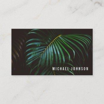 tropical palm leaf green business card