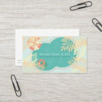 tropical palm tree pool service business card